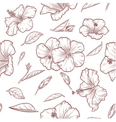 hand drawn hibiscus seamless pattern vector image