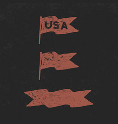 hand drawn vintage flags collection retro roughen vector image
