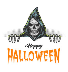 happy halloween colorful template vector image