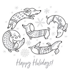 Happy holiday card witn contour dachshunds in vector