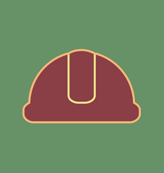 Hardhat sign cordovan icon and mellow vector
