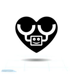 heart black icon love symbol the robot in vector image