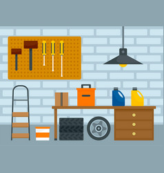 Home car garage background flat style vector