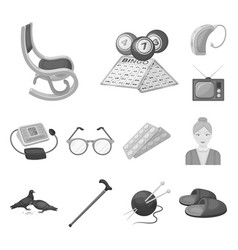 Human old age monochrome icons in set collection vector