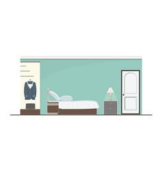 Interior green bedroom design with furniture vector