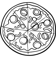 italian pizza cartoon coloring page vector image vector image