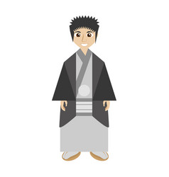 japanese man wearing traditional dress vector image