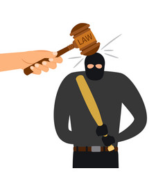 Legal punishment of criminal character hammer of vector