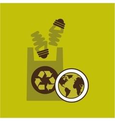 Map earth environment ecological green bulb bag vector