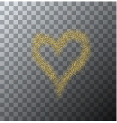 Modern gold glitter heart on transparent vector
