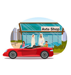muslim family buying auto flat concept vector image
