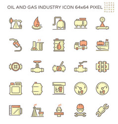 Oil and gas industry icon set design 64x64 pixel vector