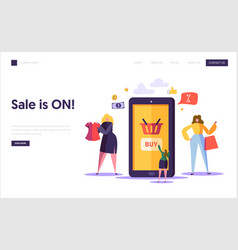 online shopping landing page template characters vector image