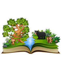 Open book with the animal cartoon playing in the r vector