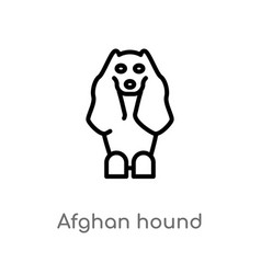 Outline afghan hound icon isolated black simple vector