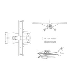 Outline drawing of plane in a flat style vector