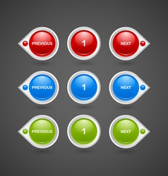 Pagination buttons vector image vector image
