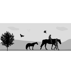People Walk on Connie Birds Fly in Nature vector image