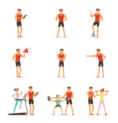 Personal gym coach trainer or instructor set of vector