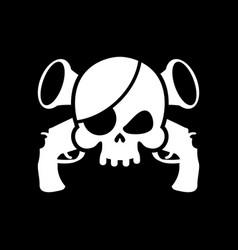 Pirate flag skull black banner filibuster head vector