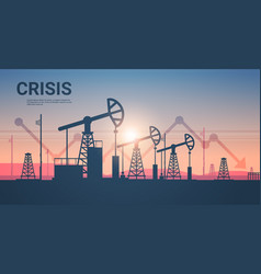 pumpjack silhouette petroleum production and trade vector image