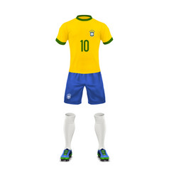 Realistic soccer uniform of a brazil team vector