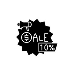 sales black icon sign on isolated vector image