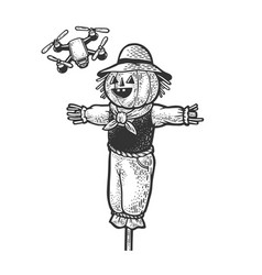 scarecrow and quadcopter sketch vector image