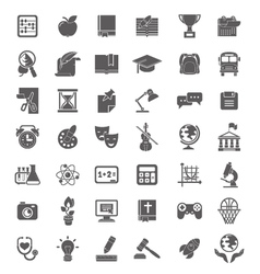 School Icons Dark Silhouettes vector image