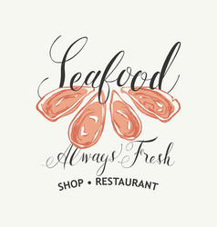 seafood banner for restaurant or shop with oysters vector image
