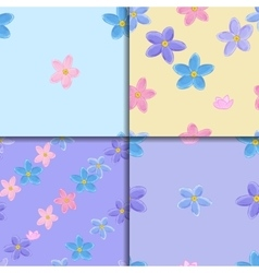 Seamless forget-me-not pattern set vector