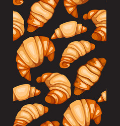 seamless pattern with cartoon croissants and buns vector image