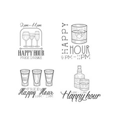 Set of 4 promotion signs for cocktail bar vector
