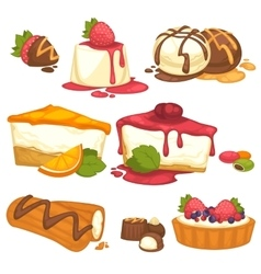 Set of cakes sweets icecream deserts with cream vector image