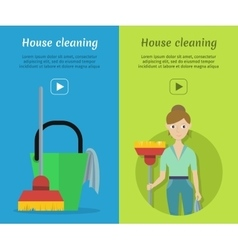 Set of Cleaning Service Flat Style Web Banners vector image