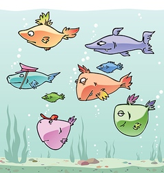 Set of the Funny Fishes vector image