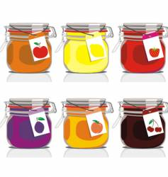 Six jam jars vector
