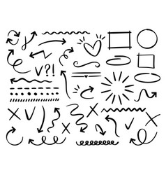 sketch arrows and frames hand drawn arrow doodle vector image