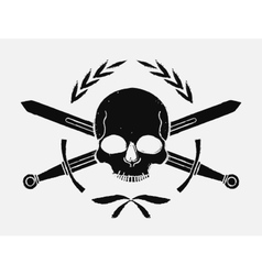 Skull and crossed sword medieval black emblem vector image