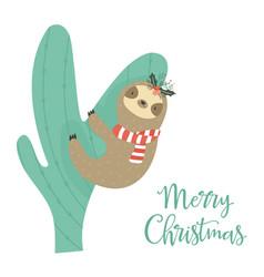 sloth climbing cactus christmas greeting card vector image