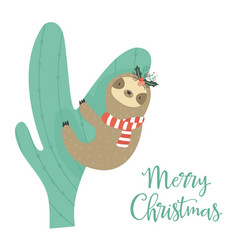 Sloth climbing the cactus christmas greeting card vector