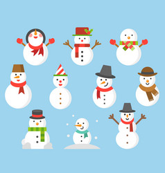 snowman icon for winter and christmas flat design vector image