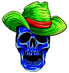spooky cowboy skull character with classic felt vector image