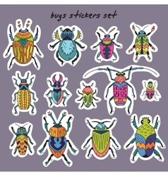 Sticker set of bugs vector image