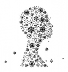 Stylized woman head snowflakes vector