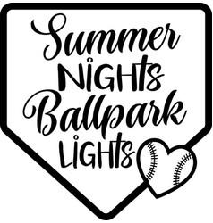 summer hights ballpark lights on white vector image