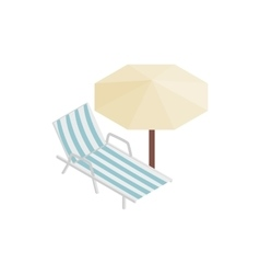 Sun lounger and parasol icon isometric 3d style vector