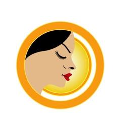 Sun tan logo- A face with a bright yellow sun vector