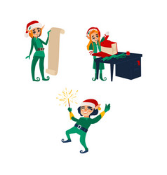 three christmas elves santa little helpers vector image