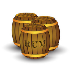 Three wooden barrels with label rum vector